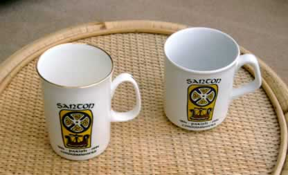 Santon Escutcheon porcelain mugs