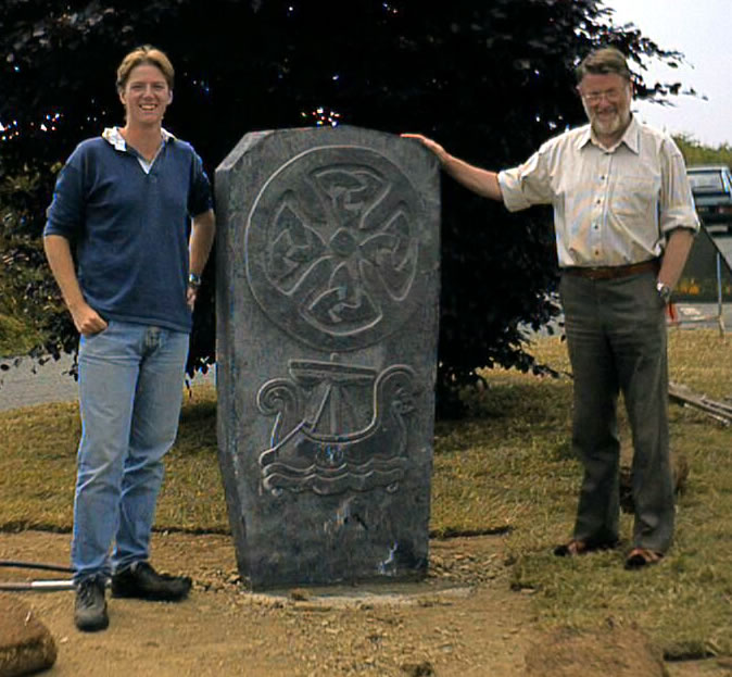 The Santon Millennium Stone with Howard Benson (Clerk) and his son Bruce who worked on the design